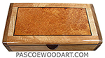 Handmade slim wood box - Decorative wood desktop box made of Pacific maple with amboyna inset box top with shedua ends