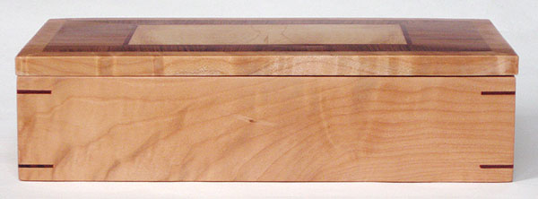 Figured eastern maple box front - Handmade decorative wood desktop box