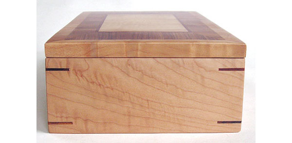 Figured western maple box end - Handmade decorative desktop wood box