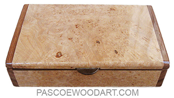 Handmade wood box - Decorative slim desktop box made of maple burl with bengi ends