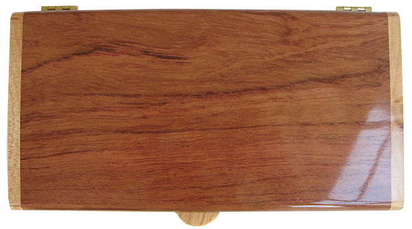 Bubinga box top - Handmade slim wood desktop box
