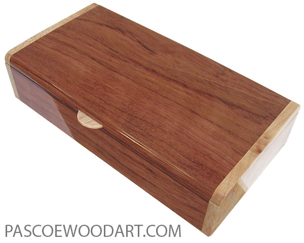 Handmade wood box - Slim desktop box made of bubinga with clustered maple burl ends