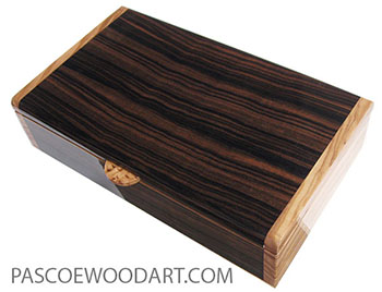 Handmade wood box - Decorative desktop box made of macassar ebony with Mediterranean olive ends