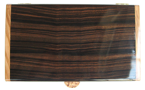 Macassar ebony box top - Handmade wood desktop box