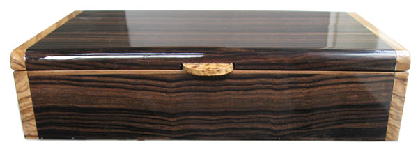 Macassar ebony box front - Handmade wood box
