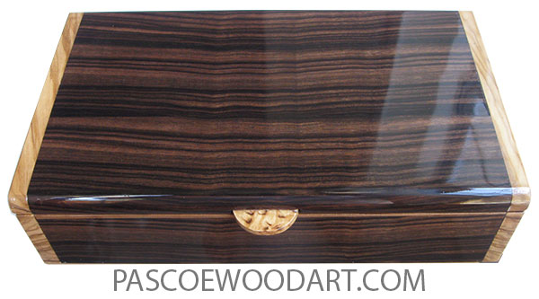 Handmade wood box - Decorative wood desktop box made of macassar ebony with Mediterranean olive ends