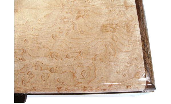 Bird's eye maple box top close up - Handmade slim wood box