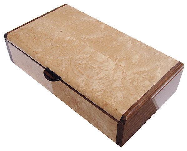 Handmade wood box - Slim desktop box made of birds eye maple with shedua ends