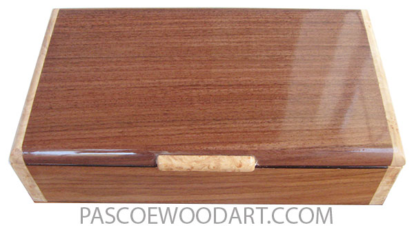 Handmade wood box - Slim desktop box made of shedua with maple of Santos rosewood with maple burl ends