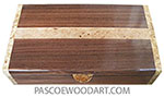 Handcrafted wood box - Slim desktop box made of Santos rosewood with maple burl and spalted maple burl