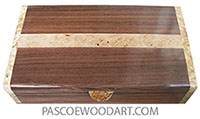 Handcrafted wood box - Slim desktop box made of Santos rosewood with maple burl band inlaied top with spalted maple burl ends