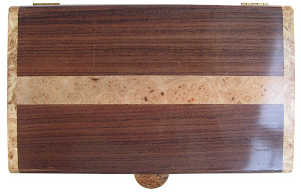 Santos rosewood with maple burl band  inlay box top - Handmade wood box, slim desktop box