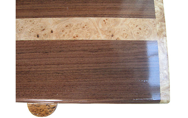 Santos rosewood with maple burl band inlay box top close up - Handmade wood box