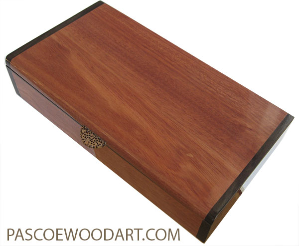 Handmade slim wood box - Desktop box made of bloodwood with macassar ebony ends