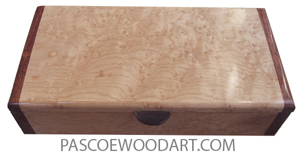 Handmade wood box - Slim desktop box made of birds eye maple with chechen ends