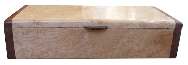 Birds eye maple box front - Handmade slim wood box