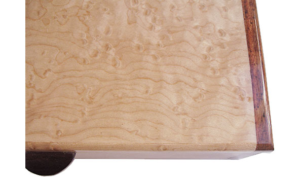 Birds eye maple box top close up - Handmade wood box