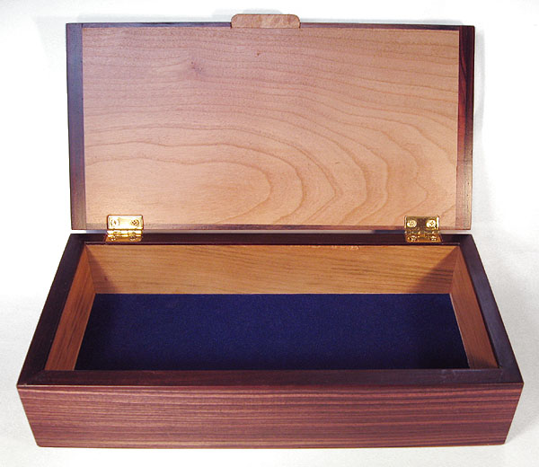 Decorative wood desktop box or pen box - open view - Handmade rectangular wood box