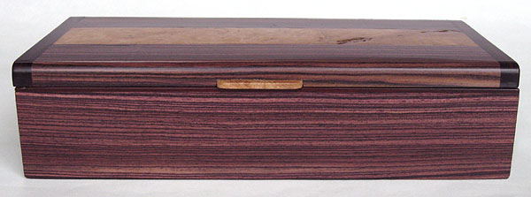 Brazilian kingwood box front view - Handmade decorative desktop box, pen box