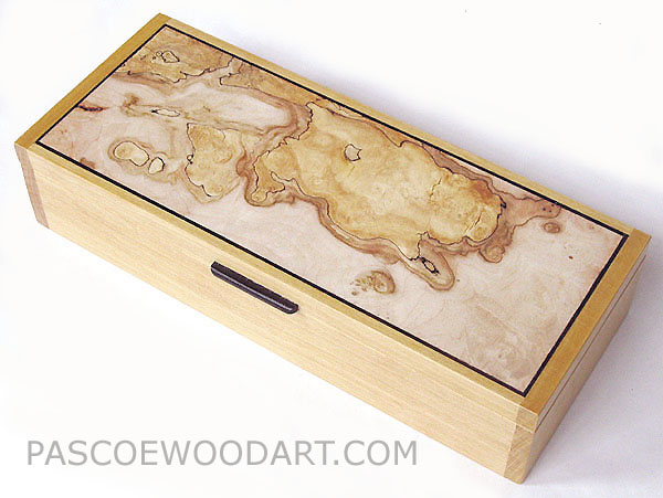 Decorative wood desktop box or pen box - Handmade Ceylon satinwood box with spalted maple burl top