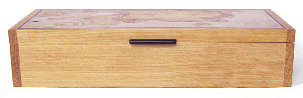 Ceylon satinwood box front view - Decorative wood desktop box or pen box