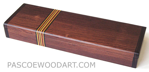 Decorative wood pen box, desktop box made of Honduras rosewood with boise de rose ends