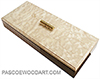 Handmade slim wood box - Decorative wood desktop box, pen box made of Bolivian rosewood with quilted Pacific maple top