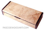 Handmade wood box - desktop pen box made of burly figured maple with bois de rose ends