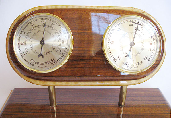Decorative wood desktop weather station - top closeup