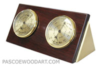 Handmade decorative wood desktop weather station made of padauk, brass