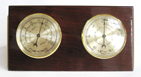 Decorative Wood Desktop Weather Station Thermometer
