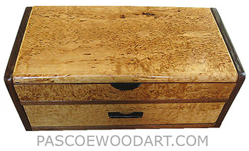 Handmade decorative wood box with drawer mad of masur birch and shedua
