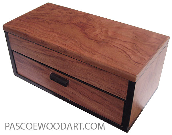 Handcrafted wood box with one drawer  made of bubinga with Ganon eEbony trim.