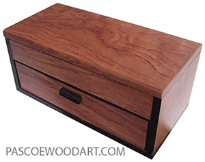 Handcrafted Wood Box - One drawer box made of bubinga with Gbon ebony trim