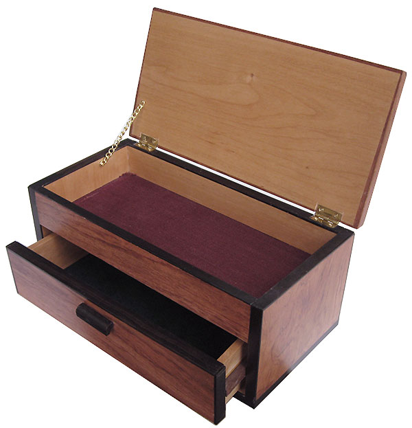 Handcrafted wood box with one drawer - open view