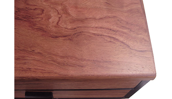 Bubinga box top - closeup - Handcrafted wood box with a drawer