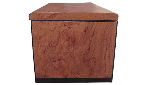 Bubinga box end - Handcrafted wood box with a drawer