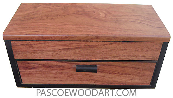 Handcrafted wood box with one drawer made of bubinga with Gabon ebony trim