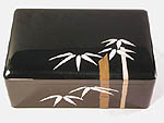 Ebozied Cherry Box with artwork by built up lacquer - Floating Bamboo