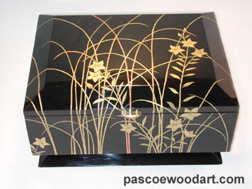 Handcrafted wood box by ebonized cherry with artwork by buil up lacquer for embossed effect -  Flower in Glass