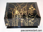Ebonized cherry box with artwork with built up lacquer - Flowers in Grass