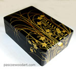 Ebonized cherry box with artwork by built up lacquer - Fumi Bako