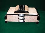 Handcrafted artistic wood box -  Blistered maple, ebony