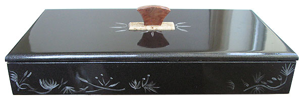 Metallic black color wood box front view