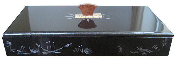Handpainted metallic black color wood box back side view