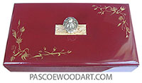 Handmake handpainted cranberry color wood box - Slim wood keepsake box
