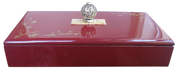 Handpainted cranberry color wood box-  front view
