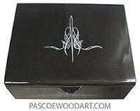 Handmade and handpainted metallic black wood keepsake box HP-1