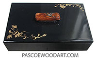 Handmade and handpainted black wood box with original art in gold