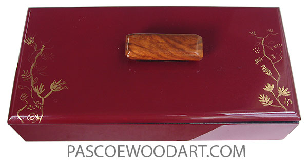 Handmade handpainted cranberry color wood box with original art in gold color - Slim wood keepsake box